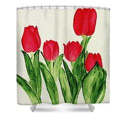 Red Tulips Shower Curtain by Anastasiya Malakhova