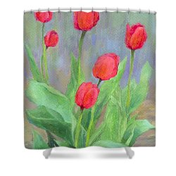 Red Tulips Colorful Painting Of Flowers By K. Joann Russell Shower Curtain by Elizabeth Sawyer