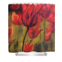 Shower Curtain featuring the painting Red Tulips by Donna Tuten