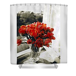Red Tulips In Window Shower Curtain by Linda  Parker