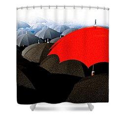 Red Umbrella In The City Shower Curtain by Bob Orsillo