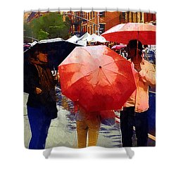 Red Umbrellas In The Rain Shower Curtain by RC deWinter