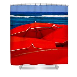Red Umbrellas  Shower Curtain by Karen Wiles