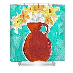 Red Vase Of Flowers Shower Curtain by Linda Woods