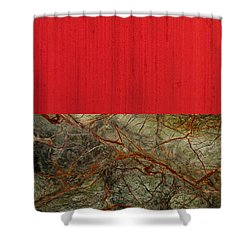 Red Veins Shower Curtain by Margaret Ivory