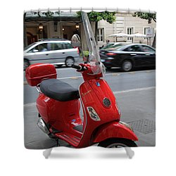 Red Vespa Shower Curtain by Inge Johnsson