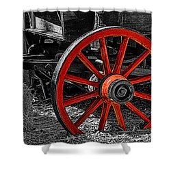 Red Wagon Wheel Shower Curtain by Jack Zulli
