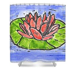 Red Waterlily Shower Curtain by Lynn-Marie Gildersleeve
