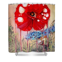 Shower Curtain featuring the painting Red Weed Red Poppy by Daniel Janda