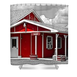 Red White And Black Shower Curtain by Frozen in Time Fine Art Photography