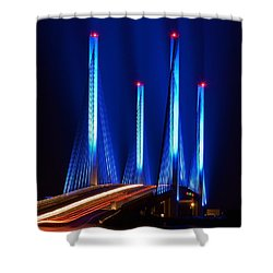 Indian River Inlet Bridge As Seen North Of Bethany Beach In This Award Winning Perspective Photo Shower Curtain