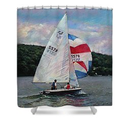Shower Curtain featuring the drawing Red White And Blue Sailboat by Viola El