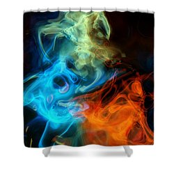 Red White And Blue Wispy Swirls Shower Curtain by Susan Schroeder