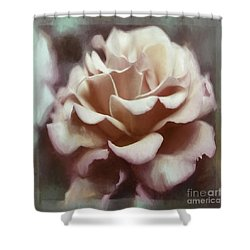 Shower Curtain featuring the photograph Red White Rose by Jean OKeeffe Macro Abundance Art