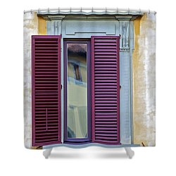 Red Window Shutter  Shower Curtain