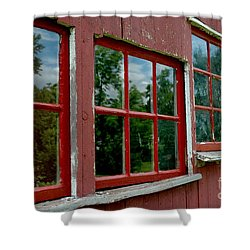 Shower Curtain featuring the photograph Red Windows Paned by Christiane Hellner-OBrien
