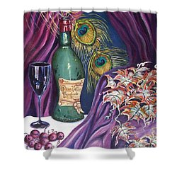 Red Wine And Peacock Feathers Shower Curtain by Caroline Street