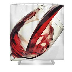 Red Wine  Into Wineglass Splash Shower Curtain