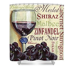 Red Wine Text Shower Curtain