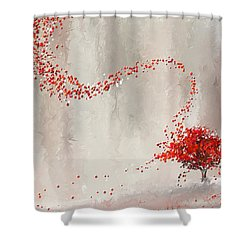 Red Winter Shower Curtain