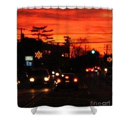 Red Winter Sunset Over Long Island Suburbs Shower Curtain by John Telfer
