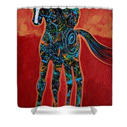 Red With Rope Shower Curtain by Lance Headlee
