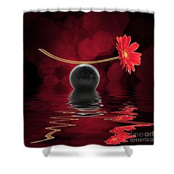 Red Zen Gerbera Shower Curtain by Delphimages Photo Creations