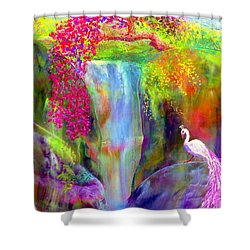 Waterfall And White Peacock, Redbud Falls Shower Curtain