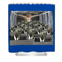 Redemption On The Cube Farm Shower Curtain by Keith Dillon
