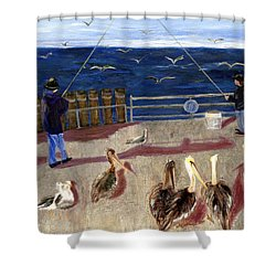 Redondo Beach Pelicans Shower Curtain