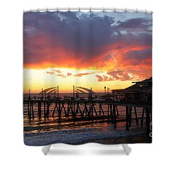 Redondo Pier Sunset Shower Curtain by Bev Conover