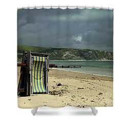Redundant Deck Chairs Shower Curtain by Linsey Williams