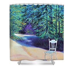 Shower Curtain featuring the painting Redwood Path And White Chair by Asha Carolyn Young