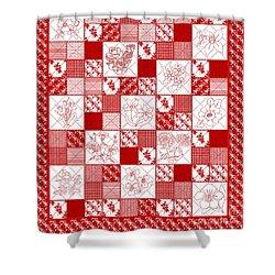 Redwork Floral Quilt Shower Curtain