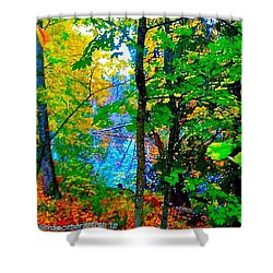 Reed College Canyon Reflections Of Autumn Shower Curtain by Anna Porter