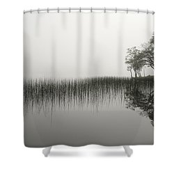 Reeds And Shore In The Mist Shower Curtain by Gary Eason