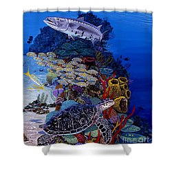 Reefs Edge Re0025 Shower Curtain by Carey Chen