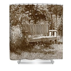 Reflecting Bench Shower Curtain by Karen Silvestri
