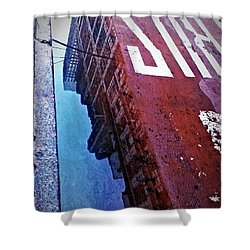 Reflecting On City Life Shower Curtain by James Aiken