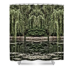 Reflecting Willows Shower Curtain by Rebecca Hiatt