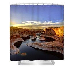 Reflection Canyon Sunrise Shower Curtain by Dustin  LeFevre