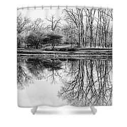 Reflection In Black And White Shower Curtain by Julie Palencia