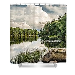 Shower Curtain featuring the photograph Reflection Lake In New York by Debbie Green