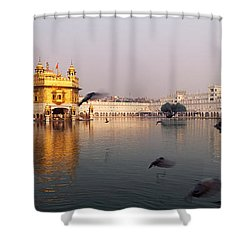 Reflection Of A Temple In A Lake Shower Curtain
