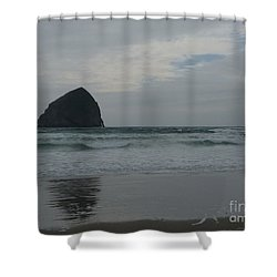Shower Curtain featuring the photograph Reflection Of Haystock Rock  by Susan Garren