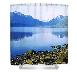 Reflection Of Rocks In A Lake, Mcdonald Shower Curtain