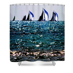 Reflection Of Sails Shower Curtain by Karen Wiles