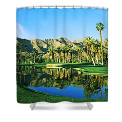Reflection Of Trees On Water In A Golf Shower Curtain