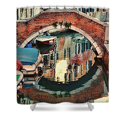 Reflection-venice Italy Shower Curtain by Tom Prendergast