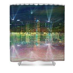 Reflection Water Skyline Shower Curtain by PainterArtist FIN
